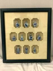 Antique Chinese Porcelain Blue And White Snuff Bottle Shadow Box Collection