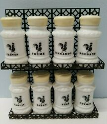 Vintage Milk Glass Spice Jars Rooster/chicken/farmhouse With Rack