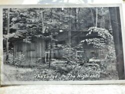 Vtg Bandw Real Photo Postcard The Lodge Cabin The Highlands Middlefield Ohio
