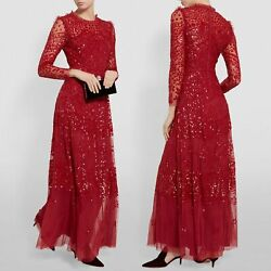 Needle And Thread Red Evening Dress Maxi Uk6 Kate Middleton Sequin Sold Out Bnwt