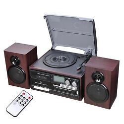 Wireless Stereo Record Player System W/speakers Turntable Am/fm Cd Cassette Us