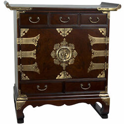 Korean Antique Style 5 Drawer End Table Cabinet