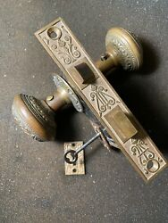 Antique Russel And Erwin Mortise Lock And Key Door Knobs Rosettes And Keyhole Covers