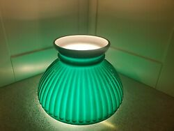 """Lamp Shade Green Student Miniature Ribbed Case Glass 4 X 5-7/8"""" Fitter Antique"""