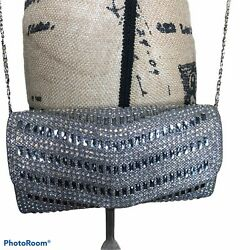 Womens Evening Silver Bling Clutch Bag With Chain Strap Wedding Party $18.00