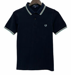 Fred Perry Men#x27;s Sz XS S Slim Fit Black Embroidered Logo Twin Tipped Polo Shirt $29.95