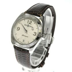 Bell And Ross Mystery Diamond 215s Ss X Leather Silver Automatic Ladies Watch Auth