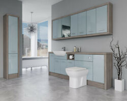 Bathroom Fitted Furniture 2200mm Duck Egg Blue Gloss / Driftwood D3 With Wall And