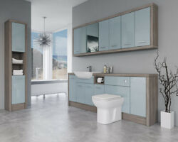 Bathroom Fitted Furniture 2200mm Duck Egg Blue Gloss / Driftwood D4 With Wall And
