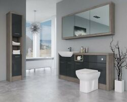 Bathroom Fitted Furniture 1700mm Anthracite Gloss / Driftwood D2 With Wall And Tal