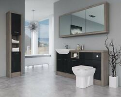 Bathroom Fitted Furniture 1700mm Black Gloss / Driftwood D2 With Wall And Tall Uni