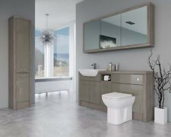 Bathroom Fitted Furniture 1700mm Metallic Latte Gloss / Driftwood D1 With Wall And
