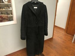 Emily Poon - Black Suede Leather Coat W/bead Sequins-size 6p