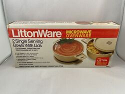 2 Vintage Littonware 2 Cup/0.5 Liter Round Microwave Bowls And Lids 39278 New