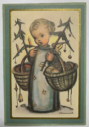 Hummel Lithograph Art Girl Baskets, Candels, Stars And Gold And Green Frame