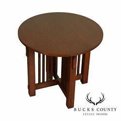 Mission Oak Style Round Spindle Lamp Table