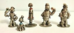 1980 Popeye Olive Oyl Brutus Sweet Pea Wimpy Spoontiques Pewter 5 Figurines Lot
