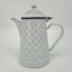Antique Enamelware Coffee Pot Hinged Lid French Chickenwire Seamless