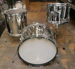 Ludwig 4pc Stainless Steel Drum Set Vintage 1970and039s