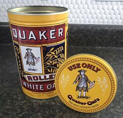 Vintage 1992 Quaker Rolled White Oats Limited Edition Collectible Can Tin W/ Lid