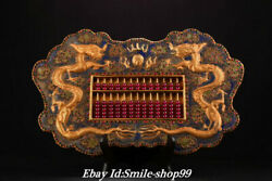 17.7 Antique Old China Bronze Gilt Inlay Gem Double Dragon Ruyi Abacus Statue