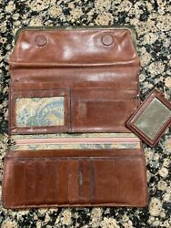Vintage HOBO Women#x27;s Soft Leather Double Frame Clutch Wallet Brown Paisley $29.95