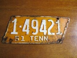 1951 Tennessee Original License Plate Tag Davidson County