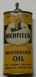 Original Early 1930and039s Era Yellow Richfield Household Oil 4 Oz Old Oiler Oil Can