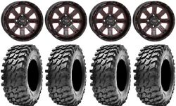 System 3 St-4 14 Wheels Red 28 Rampage Tires Honda Foreman Rancher Sra