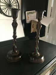 """HOSLEY Classic Collection Patina Candle Stand Set Of 2 Candle Holders 8"""". Used"""