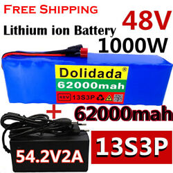 48v 1000w 62ah Li-ion E-bike Rechargeable Electric Bicycle Battery With Charger
