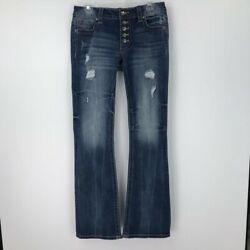 Miss Me Womens Boot Cut Jeans Dark Blue Distressed Mid Rise Button Fly Denim 29
