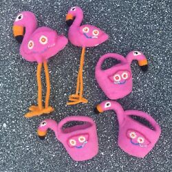 Pottery Barn Kids Wool Flamingo Treat Container Party Decoration Lot Bundle