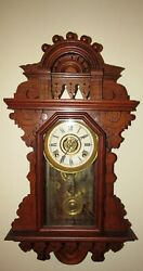 Antique R. And J. Clock Co The Belle Hanging Kitchen Wall Clock With Alarm