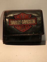 Used Harley-davidson Embroidered Bar And Shield Tri Fold Wallet Xml4363-orgblk