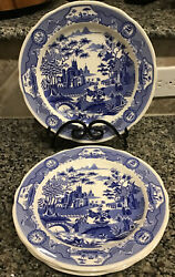 """The Spode Blue Room Collection 4""""gothic Castle""""10.5"""" Dinner Plates England Nwt"""