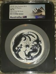 2019 Australia 10 Oz Silver Dragon And Phoenix Ngc Ms70 One Of First 98 Struck