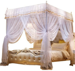 4 Corner Post Bed Canopy Curtain Net For Adults Boys Girls King White