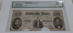 1861 10 Ten Dollar Bill Confederate Note T-25 Legacy Very Fine 20 Cancelled
