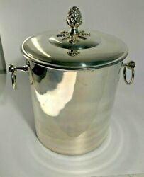 Vintage Silver Plated Insulated Silverplate Ice Bucket W/handles And Pineapple Lid