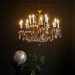 Large Vintage French 15-light Gilt And Crystal Chandelier, C. 1950s