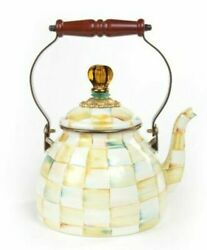 Mackenzie Childs Parchment Check Enamel Tea Kettle New In Box Sold Out In Store