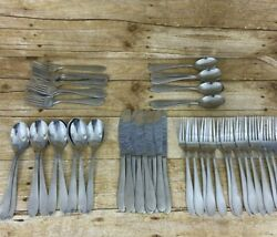 57 Pc Cambridge Satin Apex Stainless Lot Spoons Forks Knives 10 Place Settings