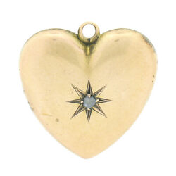 Antique Victorian 14k Yellow Gold Diamond Puffed Heart Collectible Charm Pendant