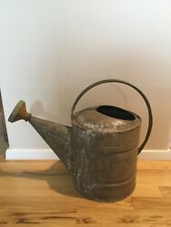 Vtg. Galvanized Metal Watering Can Old Antique Sprinkle Head Farmhouse 17