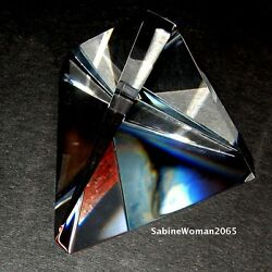 New In Box Steuben Glass Largest Trigon Paperweight Prism Ornament Star Magnum
