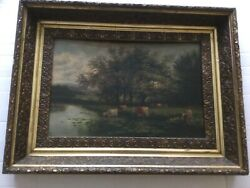 Antique Cows At Pasture Oil Painting Unsigned
