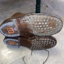 Rare Wwi French Mle 1915 Lace Up Ankle Field Boots Hobnail Soles And Heels Size 27