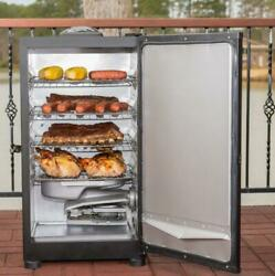 30 Inch Digital Electric Smoker In Black Digital Panel Controls On Off And Time