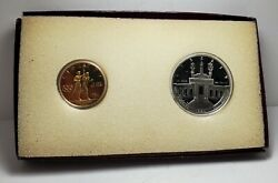 1984 W And S Olympics 2-coin Proof Set-w/ Box And Papers-silver 1 And Gold 10